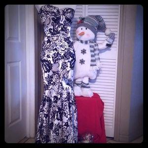 Xscape Black & White Floral Gown